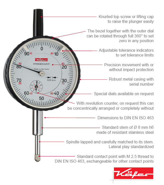 Electronic Test Indicator Series 213 : Precision dial gauges analogue metric inch käfer